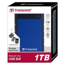 TRANSCEND STOREJET 25H3 2,5 COL USB 3.0 KÜLSŐ MEREVLEMEZ 1TB FEKETE/KÉK