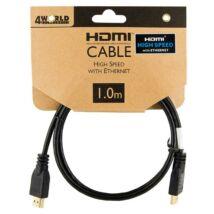 4WORLD HDMI-HDMI KÁBEL 1.4 ARANYOZOTT 1m