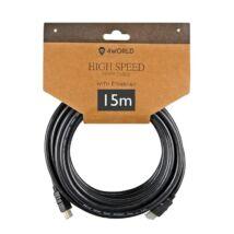 4WORLD HDMI-HDMI KÁBEL 1.4 ARANYOZOTT 15m
