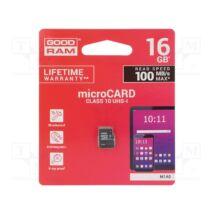 GOODRAM MICRO SDHC 16GB CLASS 10 UHS-I U1 (100 MB/s OLVASÁSI SEBESSÉG)