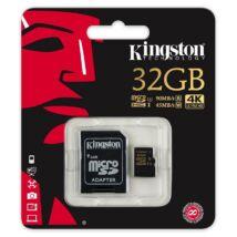 KINGSTON MICRO SDHC 32GB + ADAPTER UHS-I U3 CLASS 10 (90 MB/s OLVASÁSI 45 MB/s ÍRÁSI SEBESSÉG)