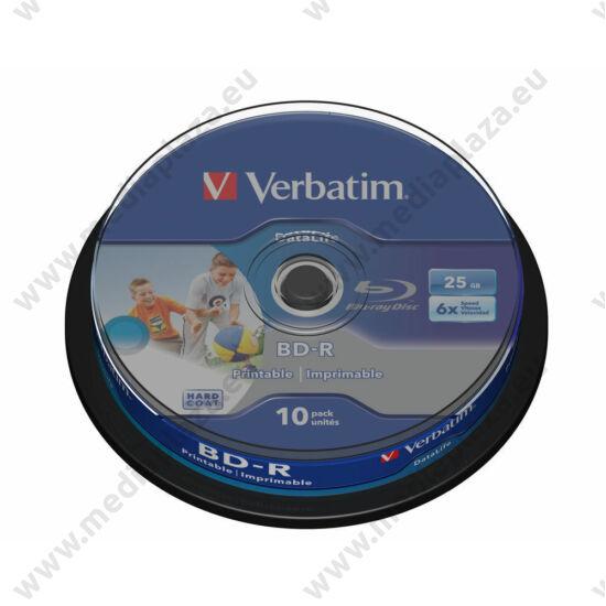 VERBATIM BD-R 25GB 6X DATALIFE NYOMTATHATÓ CAKE (10)