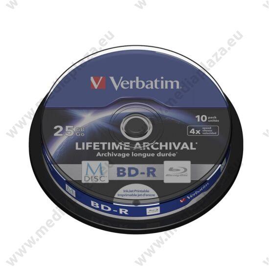 VERBATIM M-DISC BD-R 25GB 4X LIFETIME ARCHIVAL NYOMTATHATÓ CAKE (10)