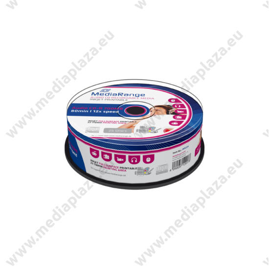 MEDIARANGE CD-R 52X AUDIO FULL NYOMTATHATÓ CAKE (25) MR224