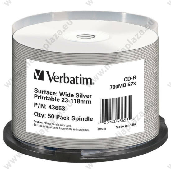 VERBATIM CD-R 52X FULL NYOMTATHATÓ SILVER INKJET NO ID CAKE (50)