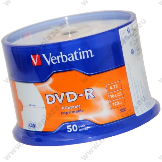 VERBATIM DVD-R 16X FULL NYOMTATHATÓ NO ID CAKE (50)