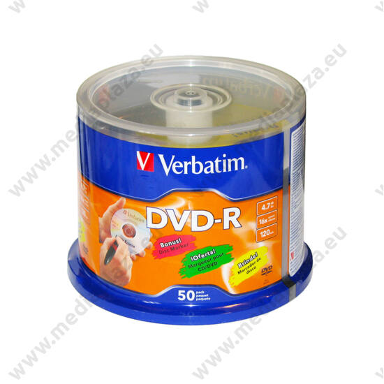 VERBATIM DVD-R 16X CAKE (50) + AJÁNDÉK CD/DVD/BLU RAY FILCTOLL
