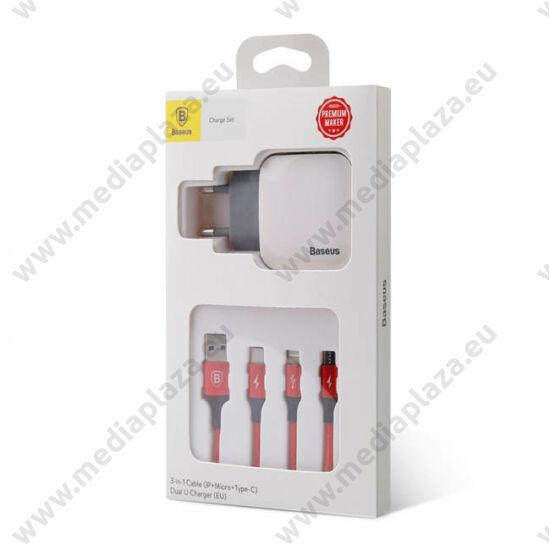 BASEUS TZCL-D92 LETOUR HÁLÓZATI TÖLTŐ + 3-IN-1 USB TYPE-C/MICRO USB/APPLE LIGHTNING KÁBEL
