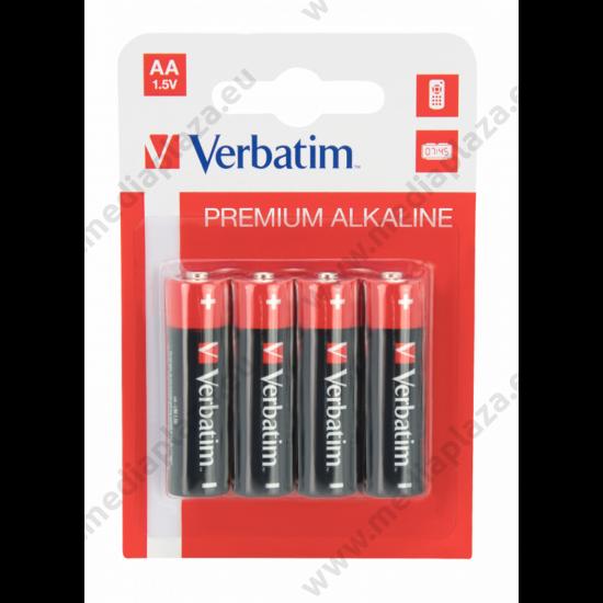 VERBATIM LR6 1.5V AA MÉRETŰ PREMIUM ALKALINE ELEM (4 BLISTER)