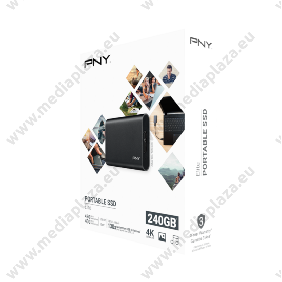 PNY ELITE 1,3 COL USB 3.1 GEN 1 KÜLSŐ SSD MEGHAJTÓ 240GB FEKETE