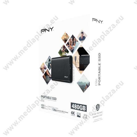 PNY ELITE 1,3 COL USB 3.1 GEN 1 KÜLSŐ SSD MEGHAJTÓ 480GB FEKETE