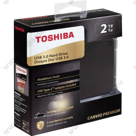 TOSHIBA CANVIO PREMIUM 2,5 COL USB 3.0 KÜLSŐ MEREVLEMEZ 2TB SZÜRKE