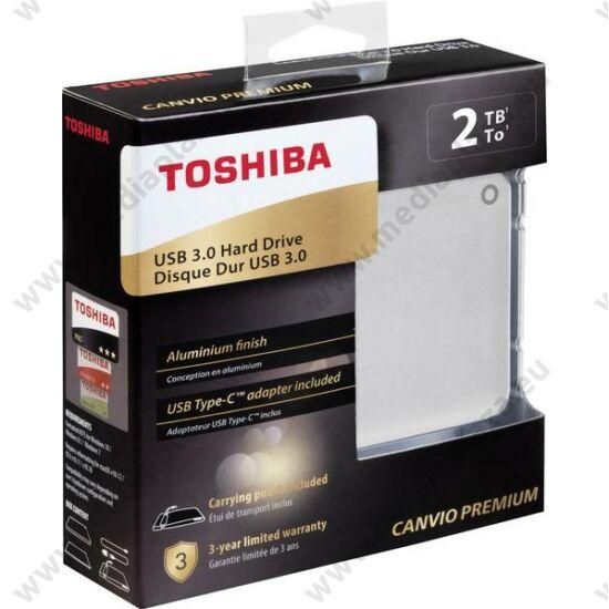 TOSHIBA CANVIO PREMIUM 2,5 COL USB 3.0 KÜLSŐ MEREVLEMEZ 2TB EZÜST