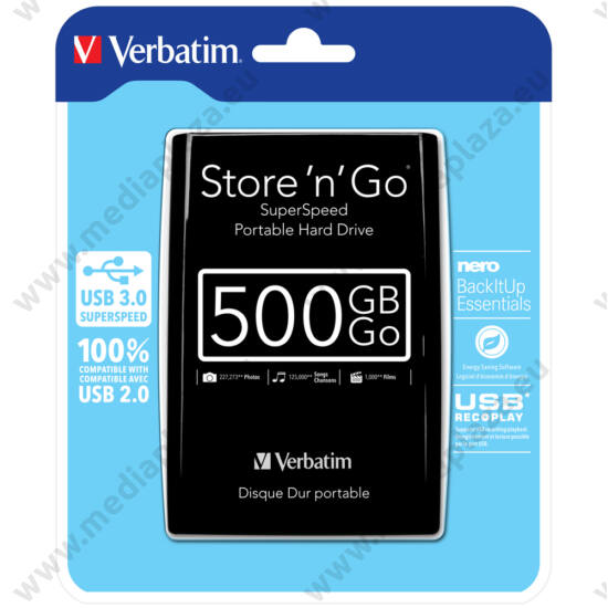 VERBATIM USB 3.0 HDD 2,5 STORE N GO 500GB