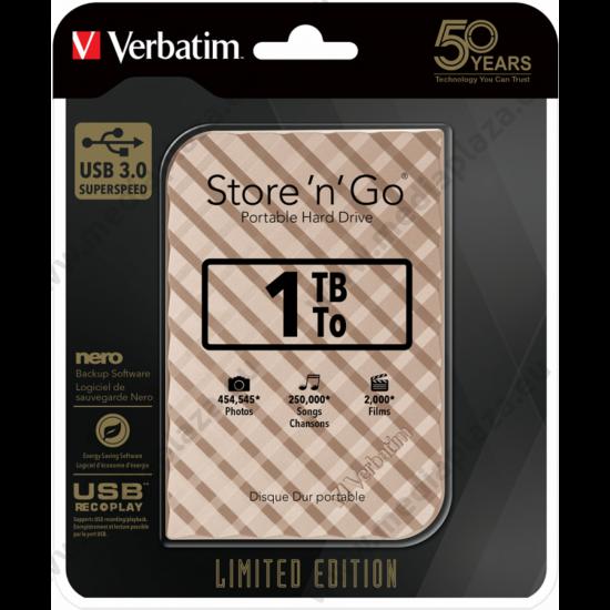 VERBATIM STORE N GO G2 LIMITED EDITION 2,5 COL USB 3.0 KÜLSŐ MEREVLEMEZ 1TB ARANY