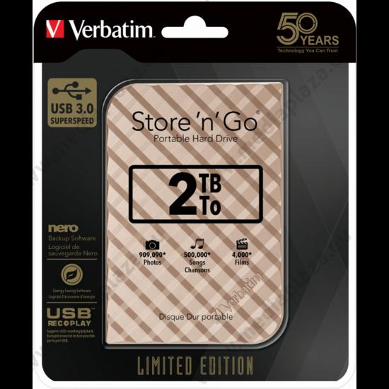 VERBATIM STORE N GO G2 LIMITED EDITION 2,5 COL USB 3.0 KÜLSŐ MEREVLEMEZ 2TB ARANY