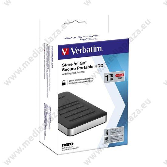VERBATIM STORE N GO SECURE 2,5 COL USB 3.1 TYPE-C KÓDZÁRAS KÜLSŐ MEREVLEMEZ 1TB
