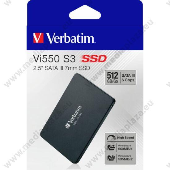 VERBATIM Vi550 S3 2,5 COL MÉRETÚ SATA III 560/535 MB/s 7mm SSD MEGHAJTÓ 512GB
