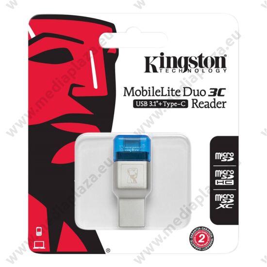 KINGSTON MOBILELITE DUO 3C USB 3.1/USB-C MEMÓRIAKÁRTYA OLVASÓ