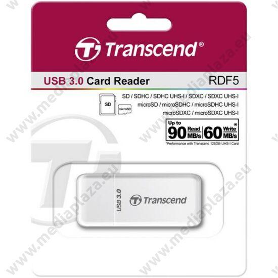 TRANSCEND RDF5 USB 3.0/USB 3.1 MICRO SD/MICRO SDHC/MICRO SDXC SD/SDHC/SDXC MEMÓRIAKÁRTYA OLVASÓ FEHÉR