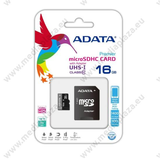 ADATA MICRO SDHC 16GB + ADAPTER UHS-I CLASS 10 (50 MB/s OLVASÁSI SEBESSÉG)