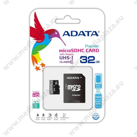 ADATA MICRO SDHC 32GB + ADAPTER UHS-I CLASS 10 (50 MB/s OLVASÁSI SEBESSÉG)