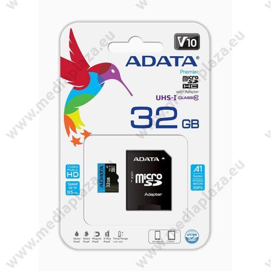 ADATA MICRO SDHC 32GB + ADAPTER CLASS 10 UHS-I U1 A1 V10 (85 MB/s OLVASÁSI SEBESSÉG)