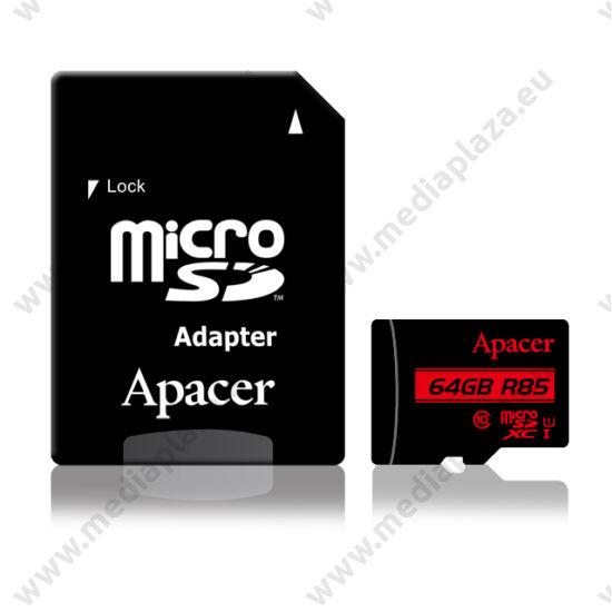 APACER R85 MICRO SDXC 64GB + ADAPTER CLASS 10 UHS-I U1 (85 MB/s OLVASÁSI SEBESSÉG)
