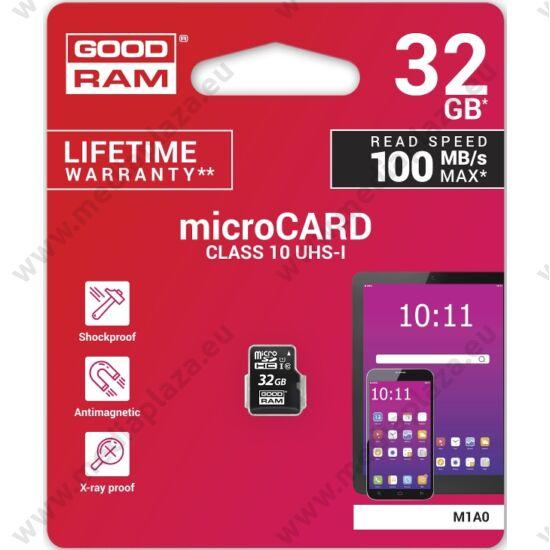 GOODRAM MICRO SDHC 32GB CLASS 10 UHS-I U1 (100 MB/s OLVASÁSI SEBESSÉG)