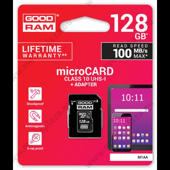 GOODRAM MICRO SDXC 128GB + ADAPTER CLASS 10 UHS-I U1 (100 MB/s OLVASÁSI SEBESSÉG)