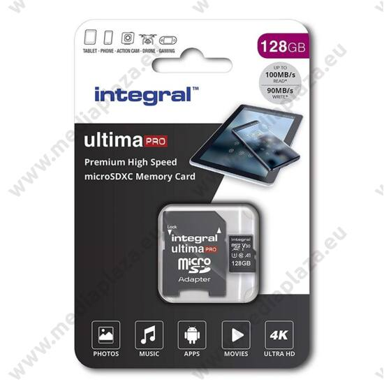 INTEGRAL ULTIMA PRO MICRO SDXC 128GB + ADAPTER CLASS 10 UHS-I U3 A1 V30 100/90 MB/s