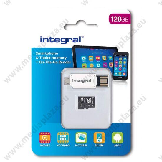 INTEGRAL  MICRO SDXC 128GB + OTG MEMÓRIAKÁRTYA OLVASÓ CLASS 10 UHS-I U1 (90 MB/s OLVASÁSI SEBESSÉG)
