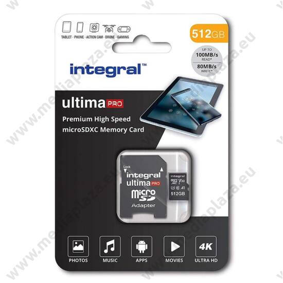 INTEGRAL ULTIMA PRO MICRO SDXC 512GB + ADAPTER CLASS 10 UHS-I U3 A1 V30 100/80 MB/s