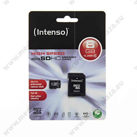 INTENSO MICRO SDHC 8GB + ADAPTER CLASS 10