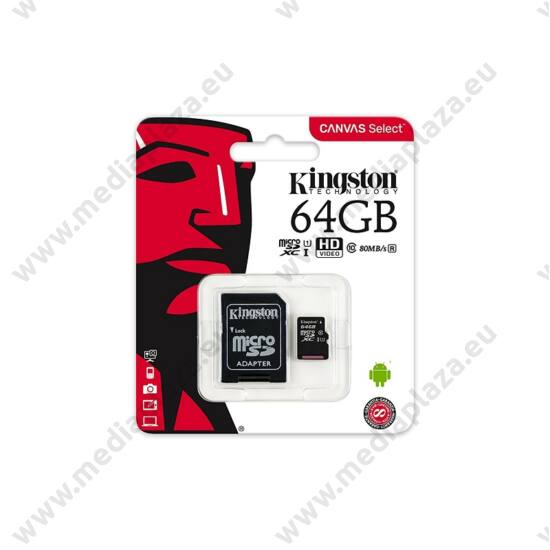 KINGSTON CANVAS SELECT MICRO SDXC 64GB + ADAPTER CLASS 10 UHS-I U1 (80 MB/s OLVASÁSI SEBESSÉG)