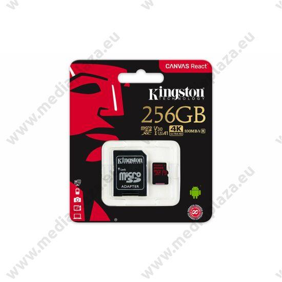 KINGSTON CANVAS REACT MICRO SDXC 256GB + ADAPTER CLASS 10 UHS-I U3 A1 V30 100/80 MB/s