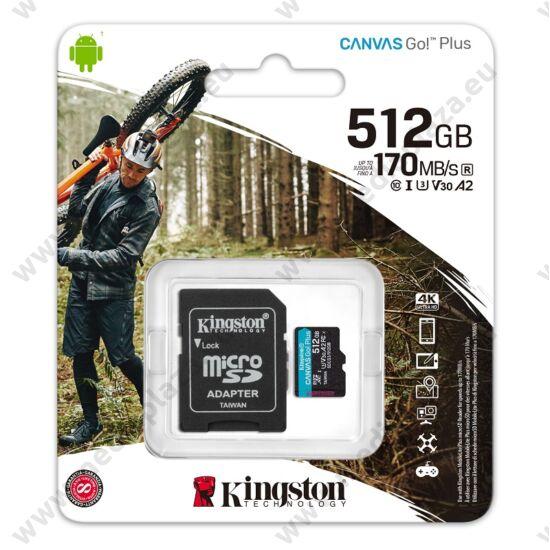 KINGSTON CANVAS GO PLUS MICRO SDXC 512GB + ADAPTER CLASS 10 UHS-I U3 A2 V30 170/90 MB/s