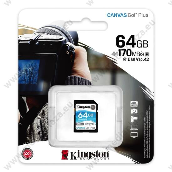 KINGSTON CANVAS GO PLUS SDXC 64GB CLASS 10 UHS-I U3 A2 V30 170/70 MB/s