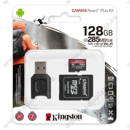 KINGSTON CANVAS REACT PLUS KIT MICRO SDXC 128GB CLASS 10 UHS-II U3 A1 V90 285/165 MB/s