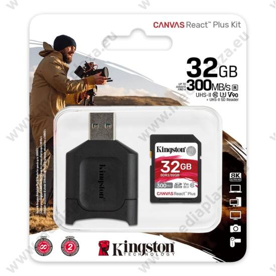 KINGSTON CANVAS REACT PLUS KIT SDHC 32GB CLASS 10 UHS-II U3 V90 300/260 MB/s