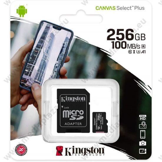 KINGSTON CANVAS SELECT PLUS MICRO SDXC 256GB + ADAPTER CLASS 10 UHS-I U3 A1 V30 (100/85 MB/s)