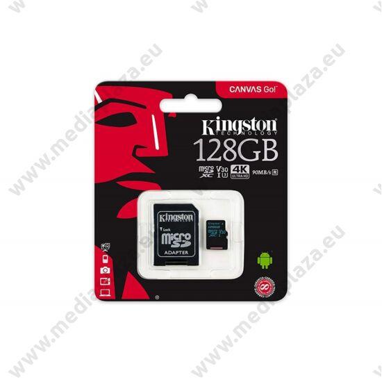 KINGSTON CANVAS GO MICRO SDXC 128GB + ADAPTER CLASS 10 UHS-I U3 V30 (90 MB/s OLVASÁSI - 45 MB/s ÍRÁSI SEBESSÉG)