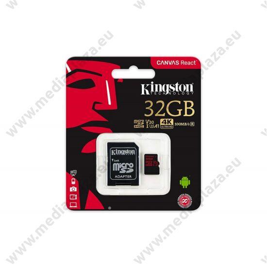 KINGSTON CANVAS REACT MICRO SDHC 32GB + ADAPTER CLASS 10 UHS-I U3 A1 V30 (100 MB/s OLVASÁSI - 80 MB/s ÍRÁSI SEBESSÉG)