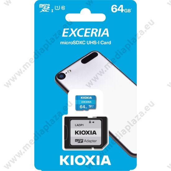 KIOXIA EXCERIA MICRO SDXC 64GB + ADAPTER CLASS 10 UHS-I U1 (100 MB/s OLVASÁSI SEBESSÉG)