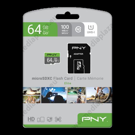 PNY ELITE MICRO SDXC 64GB + ADAPTER CLASS 10 UHS-I U1 (100 MB/s OLVASÁSI SEBESSÉG)