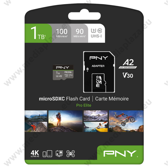 PNY PRO ELITE MICRO SDXC 1TB + ADAPTER CLASS 10 UHS-I U3 A2 V30 100/90 MB/s