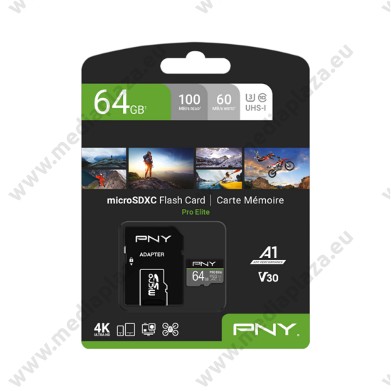 PNY PRO ELITE MICRO SDXC 64GB + ADAPTER CLASS 10 UHS-I U3 A1 V30 100/60 MB/s