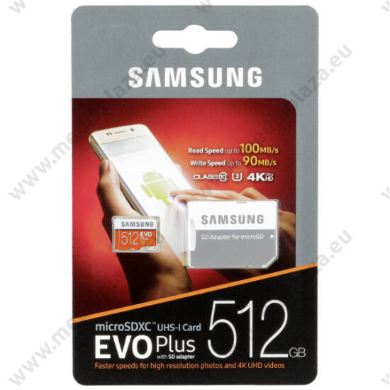 SAMSUNG MICRO SDXC 512GB + ADAPTER CLASS 10 UHS-I U3 EVO+ 100/90 MB/s