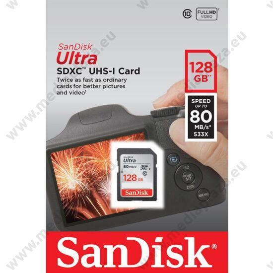 SANDISK ULTRA SDXC 128GB CLASS 10 UHS-I (80 MB/s OLVASÁSI SEBESSÉG)