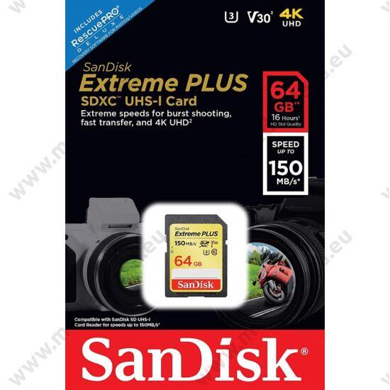 SANDISK EXTREME PLUS SDXC 64GB CLASS 10 UHS-I U3 V30 150/60 MB/s